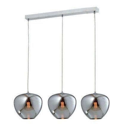 podłużna lampa wisząca z trzema srebrnymi kloszami