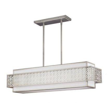 Podłużna srebrna lampa do salonu z abażurem