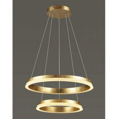 podwójna złota lampa z okręgami