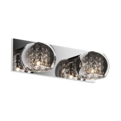 podwójny kinkiet glamour szklany z kroplami kryształów do łazienki