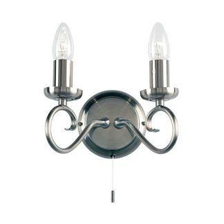 podwójny kinkiet świecznikowy z wyłącznikiem sznurkowym
