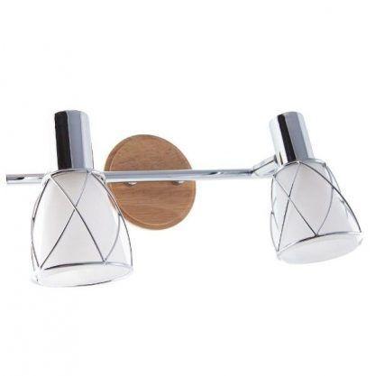 podwójny kinkiet szklane klosze na drewnianej podstawie
