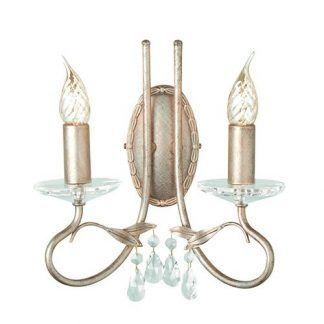 podwójny kinkiet z kryształkami i 2 świeczniki