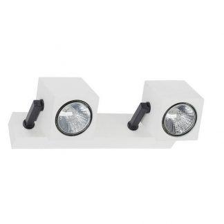 podwójny kinkiet z kwadratowymi reflektorkami biały