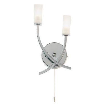 podwójny kinkiet ze sznurkowym włącznikiem srebrny