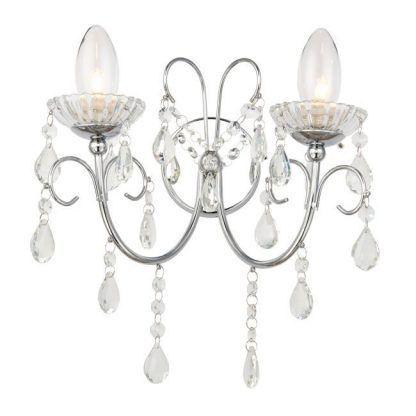 podwójny srebrny kinkiet z kryształkami do łazienki