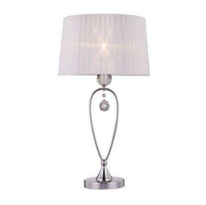 srebrna lampa stołowa z abażurem i kryształkiem
