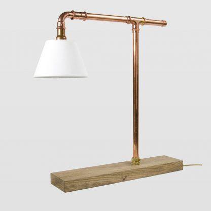 połączenie drewna i miedzi - lampa stołowa