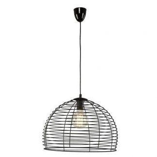 półokrągła druciana lampa czarny klosz do salonu
