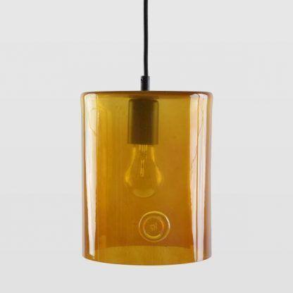 pomarańczowa lampa wisząca ze szkła podłużna