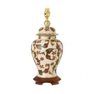 porcelanowa kremowa lampa stołowa w listki