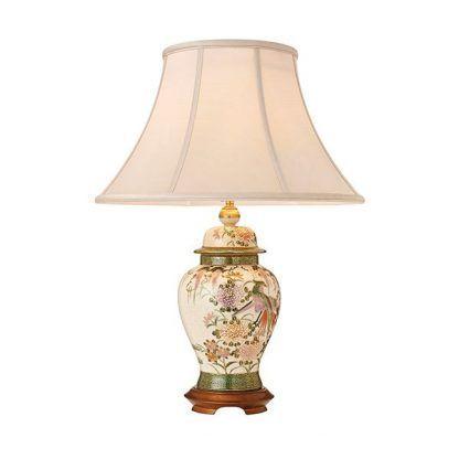 porcelanowa lampa stołowa do salonu z abażurem