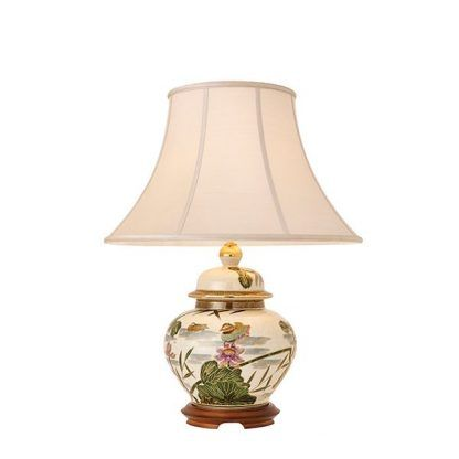 porcelanowa lampa stołowa w kaczki