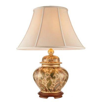 porcelanowa malowana lampa stołowa z abażurem