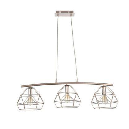 potrójna druciana lampa wisząca nad stół złota
