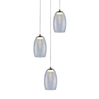potrójna lampa wisząca bezbarwne szklane klosze nowoczesne