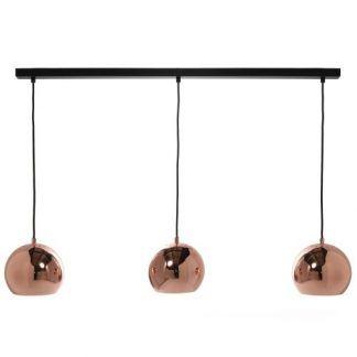 potrójna lampa wiszaca na szynie ball - 3 klosze miedziane