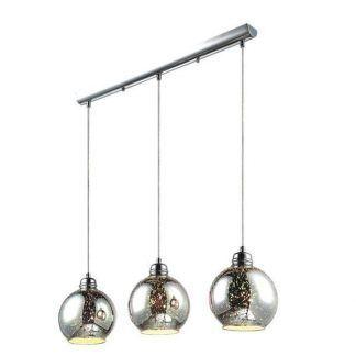 potrójna lampa wisząca z 3 szklanymi srebrnymi kulami