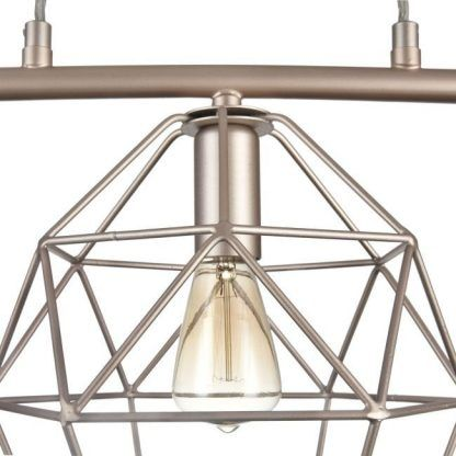 potrójna lampa wisząca z drucianymi kloszami