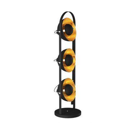 potrójny reflektor - lampa podłogowa z miedzianymi kloszami