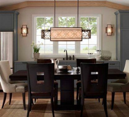 prostokątna lampa wisząca do ciemnobrązowego stołu w jadalni