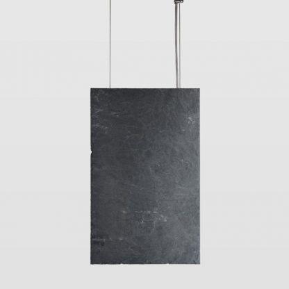 prostokątna wisząca lampa z kamienia i grafitu