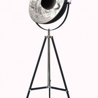 Reflektor podłogowy czarny i srebrny - lampa