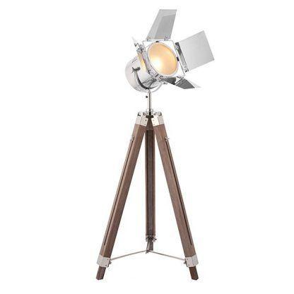 reflektor stojący do salonu z drewnianymi nogami