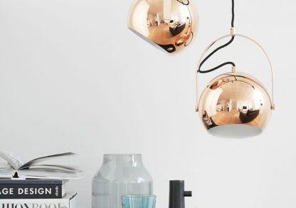 Regulowana lampa wisząca reflektor - kulista - miedź