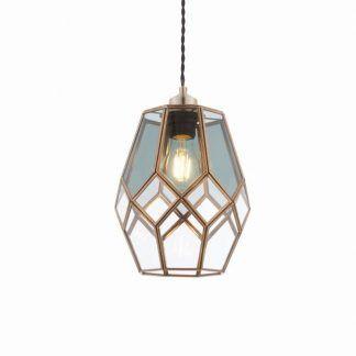 ripley szklana lampa wisząca złota rama