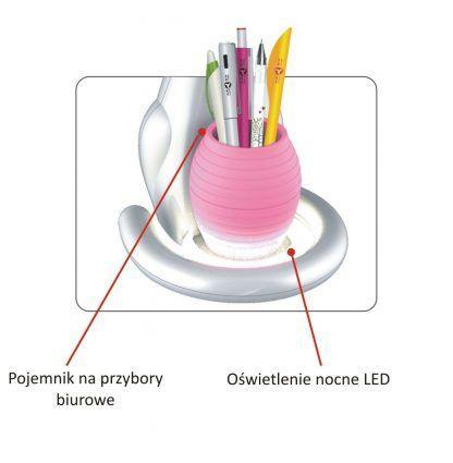 różowa lampa biurkowa dziecięca z przybornikiem