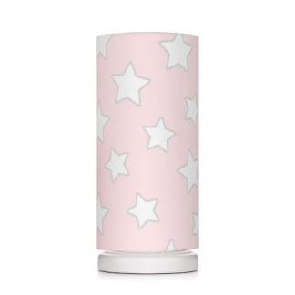 Różowy abażur w gwiazdki biała lampka nocna