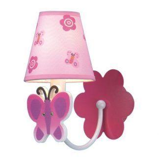 różowy kinkiet dziecięcy z motylkiem różowy abażur