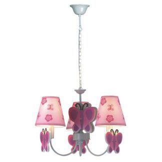 różowy żyrandol w motylki pokój dziewczynki