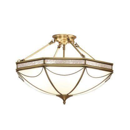 russell duża lampa sufitowa szklana złota rama