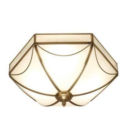 russell duży plafon z mlecznego szkła w złotej ramie