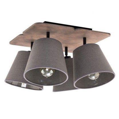rustykalna lampa sufitowa drewno i tkanina