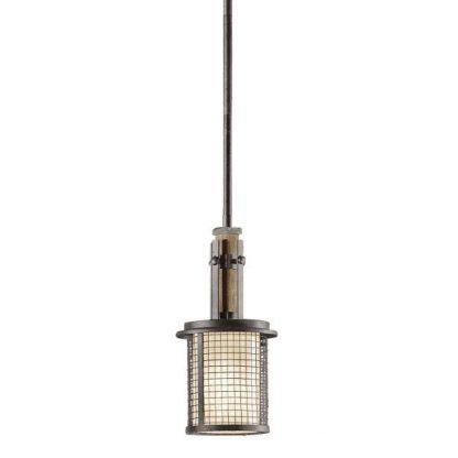 rustykalna lampa wisząca nad kuchenny blat