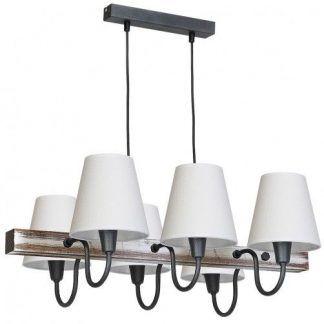 rustykalna lampa wisząca nad stół białe abażury