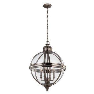 rustykalna lampa wisząca szklana kula srebrna