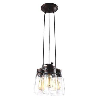 rustykalna lampa wisząca szklane słoiki w brązie