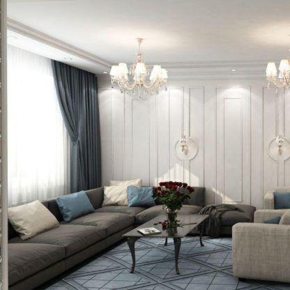 salon w stylu glamour z żyrandolami aranżacja