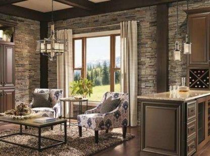 salon w stylu rustykalnym oświetlenie aranżacja