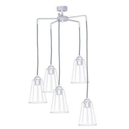 Skandynawska lampa wisząca z białych prętów salon