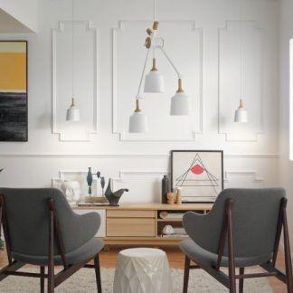 skandynawski salon z białymi lampami aranżacja