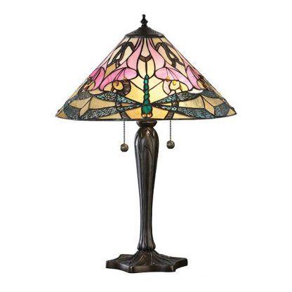 smukła lampa stołowa z witrażowym kloszem