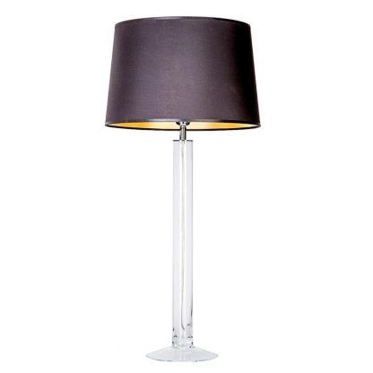 smukła szklana lampa z ciemnym abażurem nowoczesna