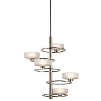 spiralna lampa wisząca srebrna z wieloma żarówkami