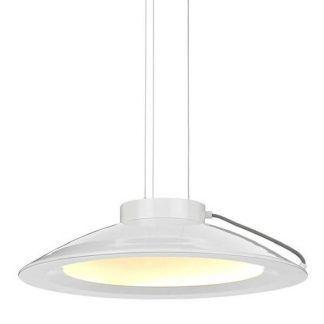 Spłaszczony klosz w metalowej białej lampie do kuchni