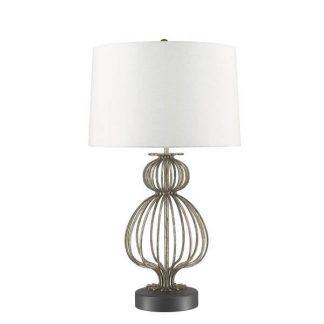 Srebrna artystyczna baza lampy z białym abażurem do salonu